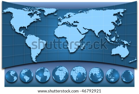 Map of the world and globes, EPS10 vector illustration - stock vector