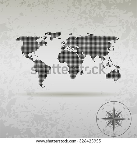 map of the world at the dots with the compass