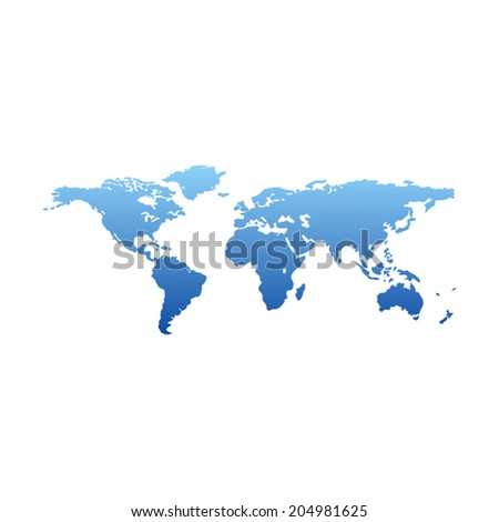 Map of the world - blue gradient silhouette over white background - stock vector