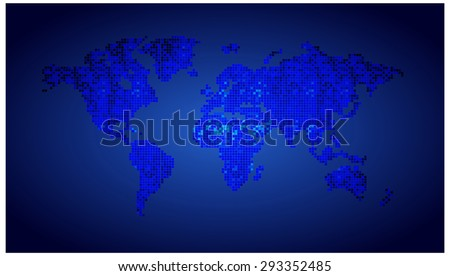 map of the world blue pixel background. vector illustration. dot. table. square. Mosaic. ingographics. background for computer graphic website internet and technology. - stock vector