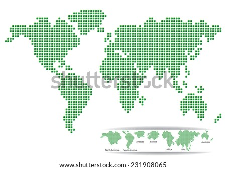 MAP of the World green design - stock vector