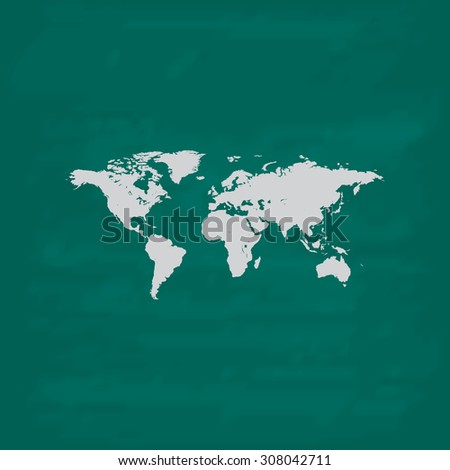 Map of the world. Icon. Imitation draw with white chalk on green chalkboard. Flat Pictogram and School board background. Vector illustration symbol - stock vector