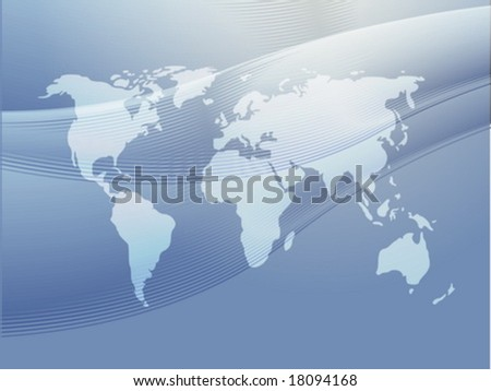 Map of the world illustration, with abstract curved lines