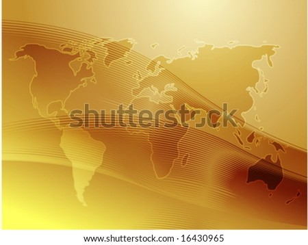 Map of the world illustration, with wavy gradient curves - stock vector