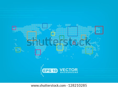 map of the world in point places business background sample - stock vector