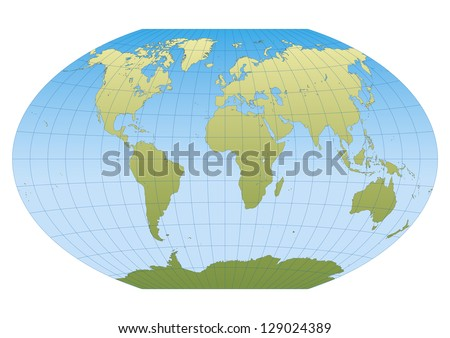 Map of the world in Winkel Tripel projection with graticule. Centered in Europe and Africa - stock vector