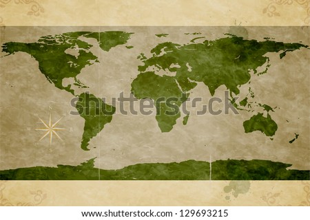 Map of the World. Old paper texture. Grunge effects - stock vector
