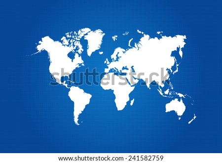 Map Of The World On Blueprint Vector - stock vector