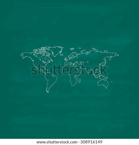 Map of the world. Outline vector icon. Imitation draw with white chalk on green chalkboard. Flat Pictogram and School board background. Illustration symbol - stock vector
