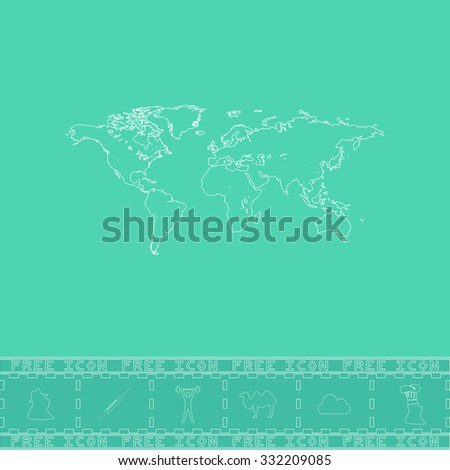 Map of the world. White outline flat symbol and bonus icon. Simple vector illustration pictogram on green background - stock vector