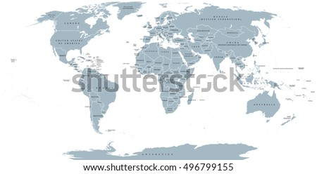 Political grayscale world map vector illustration vectores en stock map of the world with national borders and country names robinson projection english labeling gumiabroncs Image collections