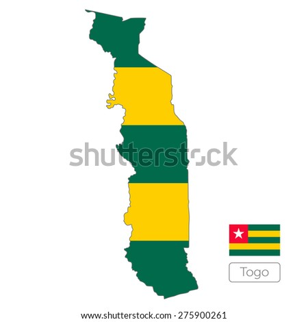 Map of Togo with an official flag. Illustration on white background - stock vector