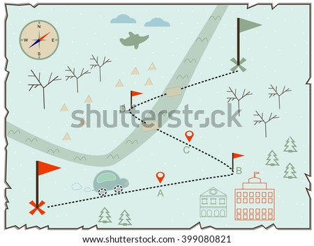 Map of treasure island, treasure map, baby map, illustration of the winter map to find treasure with cars, buildings and compass - stock vector
