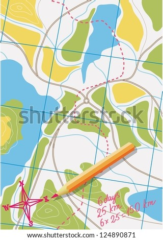 Map of trip on the forests. Vector illustration.