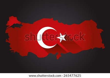 Map of Turkey and national flag symbols, Black Background - stock vector