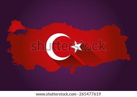 Map of Turkey and national flag symbols, Purple Background - stock vector