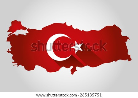 Map of Turkey and national flag symbols, White Background - stock vector