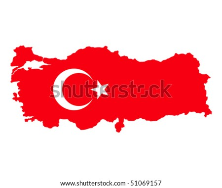 map of Turkey filled with flag of the state - stock vector