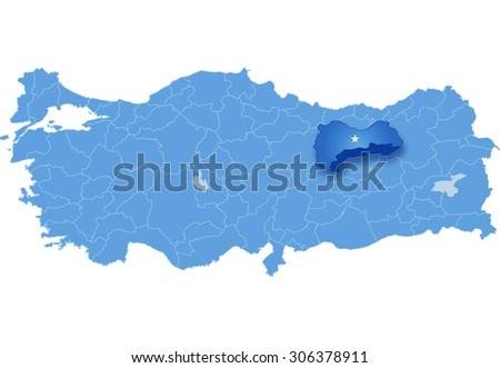 Map Turkey Where Erzincan Province Pulled Stock Vector 306378911