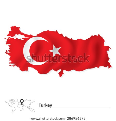 Map of Turkey with flag - vector illustration - stock vector