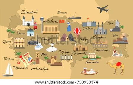 map turkey main sights tourists turkish stock vector hd royalty free 750938374 shutterstock