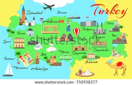 map turkey main sights tourists turkish stock photo photo vector illustration 750938377 shutterstock