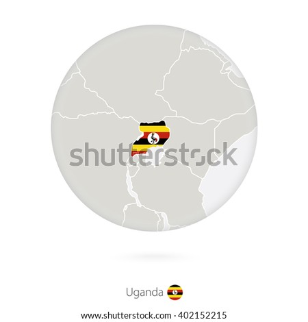 Map of Uganda and national flag in a circle. Uganda map contour with flag. Vector Illustration. - stock vector