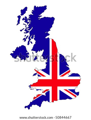 map of UK filled with Union Jack flag of United Kingdom states - stock vector