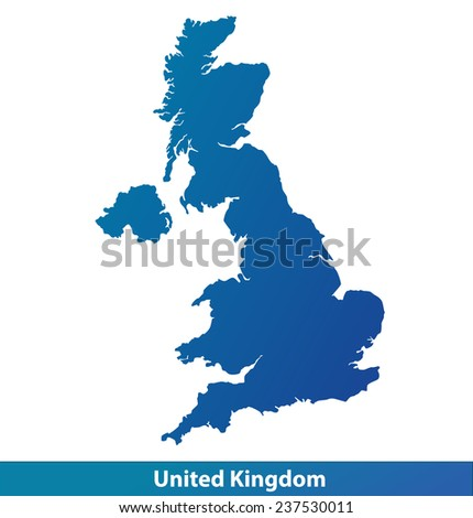 Map of UK (United Kingdom). Silhouette isolated on a white background. - stock vector