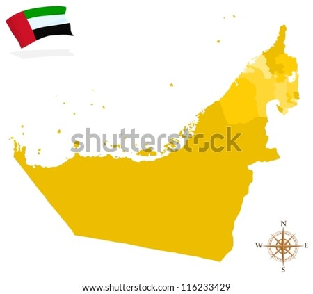 Map of United Arab Emirates - stock vector