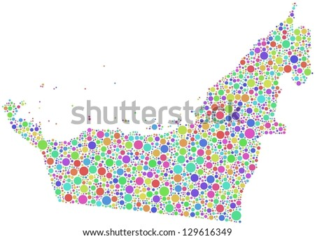 Map of United Arab Emirates in a mosaic of harlequin circles. A number of 2250 bubbles are accurately inserted into the mosaic. White background. - stock vector