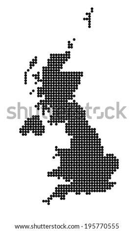 Map of United Kingdom (UK, United Kingdom of Great Britain and Northern Ireland) made from black and grey dots (vector) - stock vector