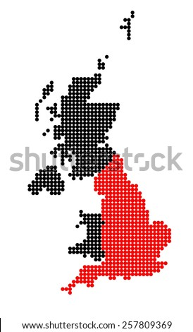Map of United Kingdom (UK, United Kingdom of Great Britain and Northern Ireland) with stylized map of England made from dots