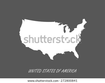 Map of United States in a grey background, US map in black and white design - stock vector