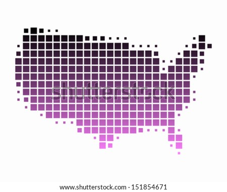 Map of United States of America - stock vector