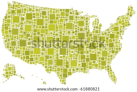 Map of United States of America. A number of 1586 squares are inserted into the mosaic - stock vector
