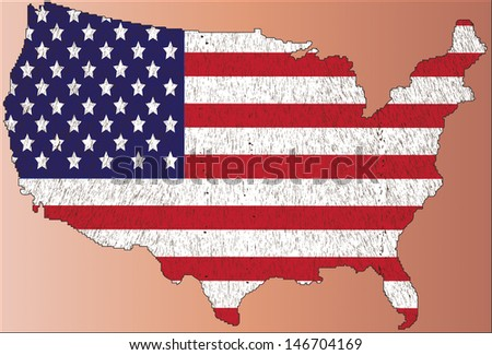 Map of United States of America with  flag - stock vector
