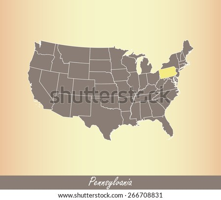 Map of United States of America with highlighted state of Pennsylvania, on an old paper background - stock vector