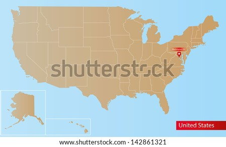 Map of United States of America With islands and States. - stock vector