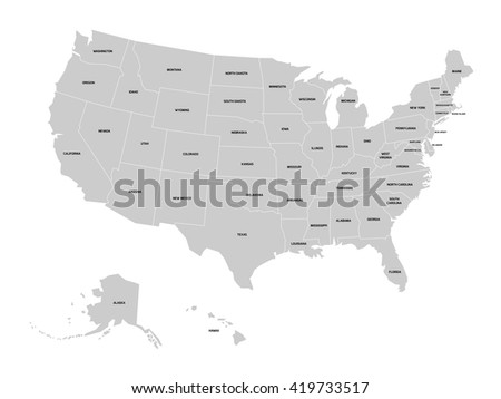 Map United States America Name Each Stock Vector - A map of the united states of america
