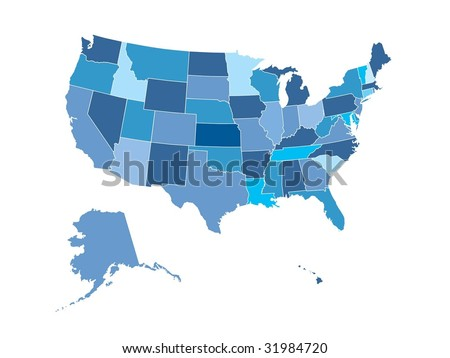 Map of United States, states outlined - stock vector
