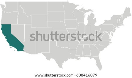 Map United States Arizona Highlighted Stock Vector - Us map with california highlighted