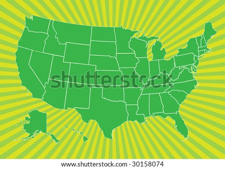 Map of US on burst background - stock vector