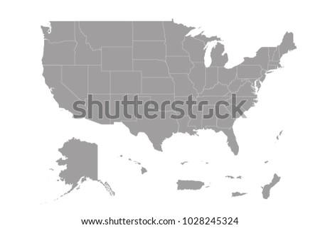 Map Us Territories Stock Vector 1028245324 Shutterstock