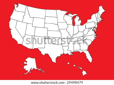 Map of US with flag - stock vector