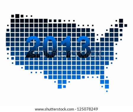 Map of USA 2013 - stock vector