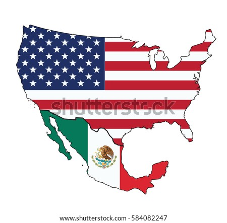 map of usa and mexico with flag on white background