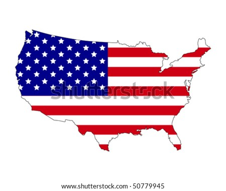 map of USA filled with flag of the country
