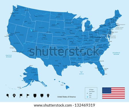 Map of USA in blue color. Vector illustration. - stock vector