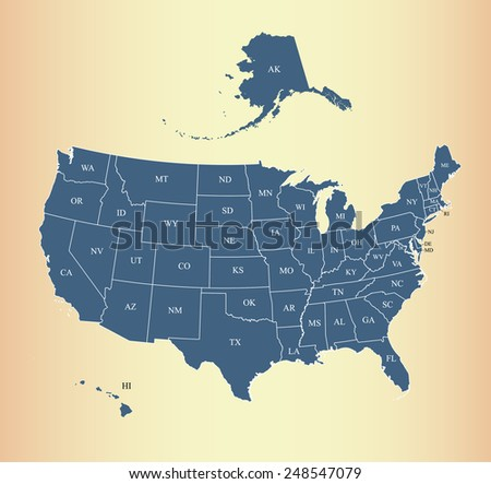 Map of USA with a background - stock vector